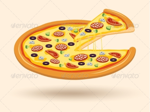 Meat Cheese Pizza Symbol - Food Objects