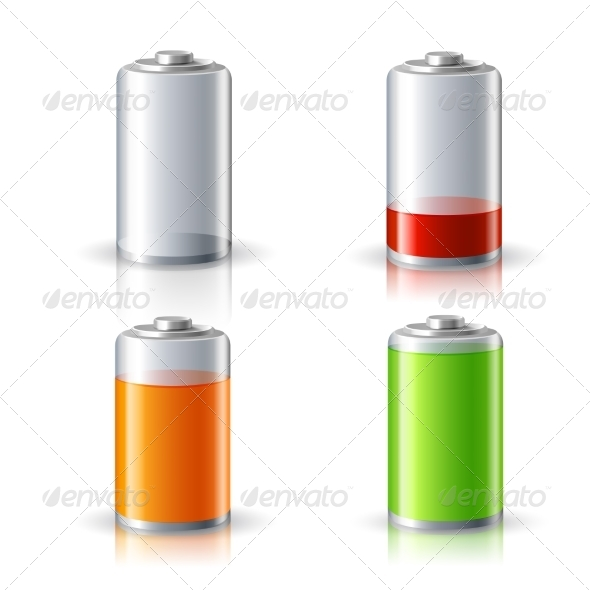 Realistic Battery Status Icons Set - Technology Icons