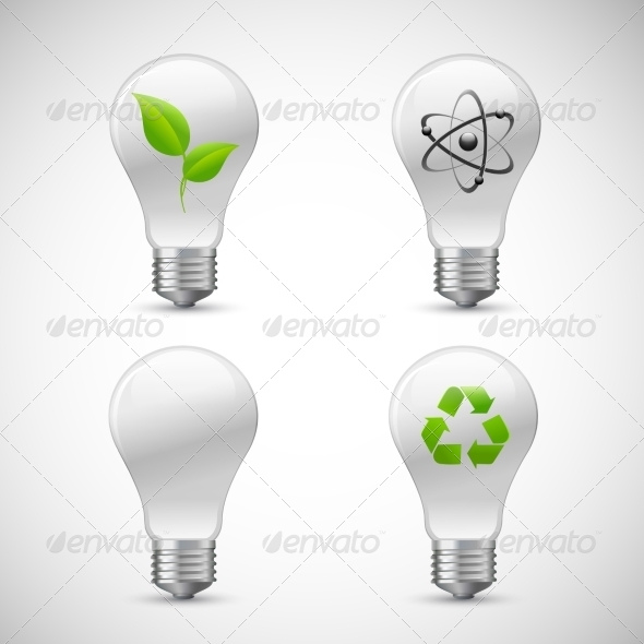 Lightbulb Eco Science Icons Set - Technology Icons