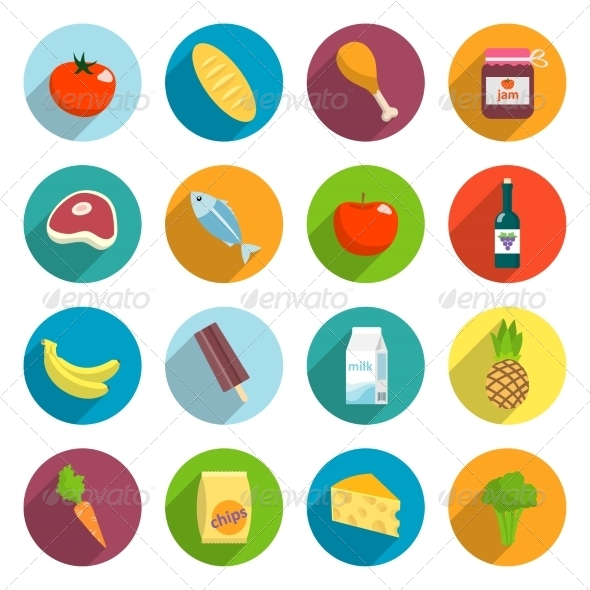 Supermarket Foods Flat Icons Set - Food Objects