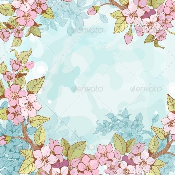 Sakura Branch Frame Background - Borders Decorative