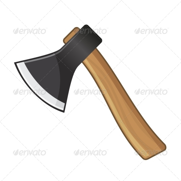Old Steel Axe on White Background. Vector - Buildings Objects