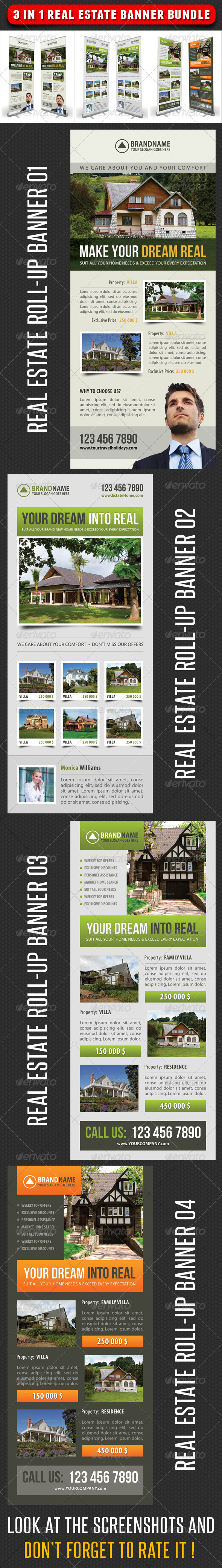 3 in 1 Real Estate Banner Bundle 03 - Signage Print Templates