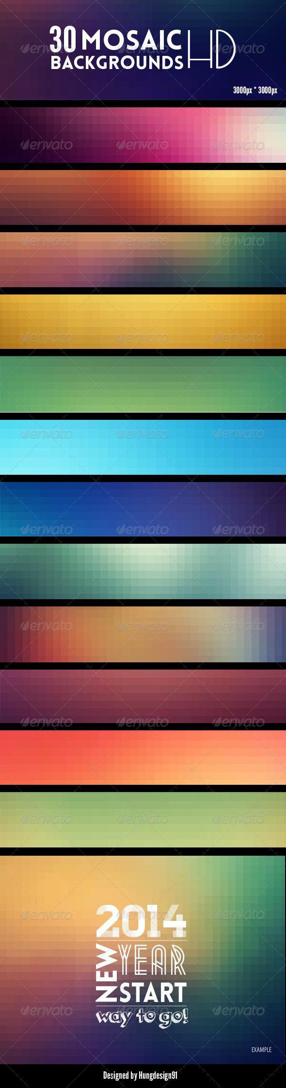30 Premium Mosaic Backgrounds Bundle - Backgrounds Graphics