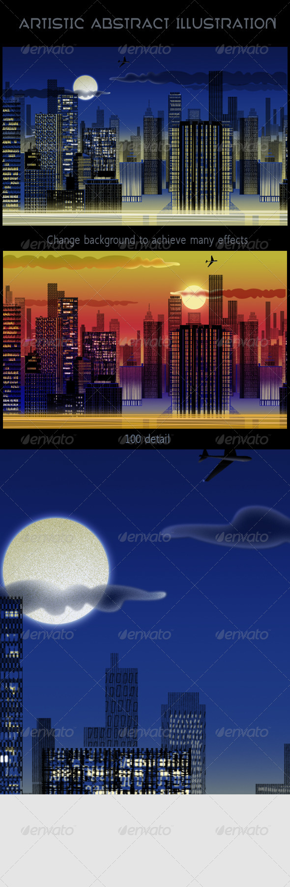 City Skyline at Night Abstract Web Illustration - Abstract Backgrounds