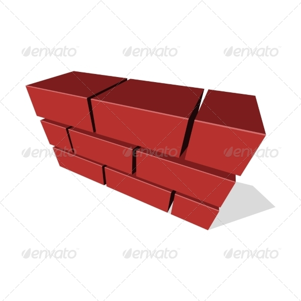 Brick Wall Icon 3D on White Background - Buildings Objects