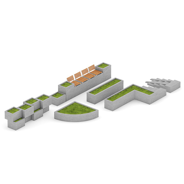 Park Concrete Elements Set - 3DOcean Item for Sale