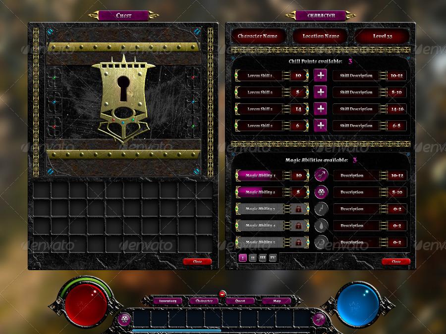 Simple Rpg Item Menu: Fantasy RPG Game UI By MarabuDesign