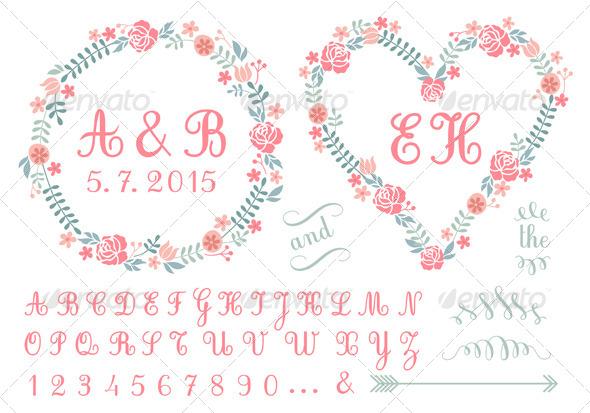 Monogram in Floral Frames Set - Weddings Seasons/Holidays