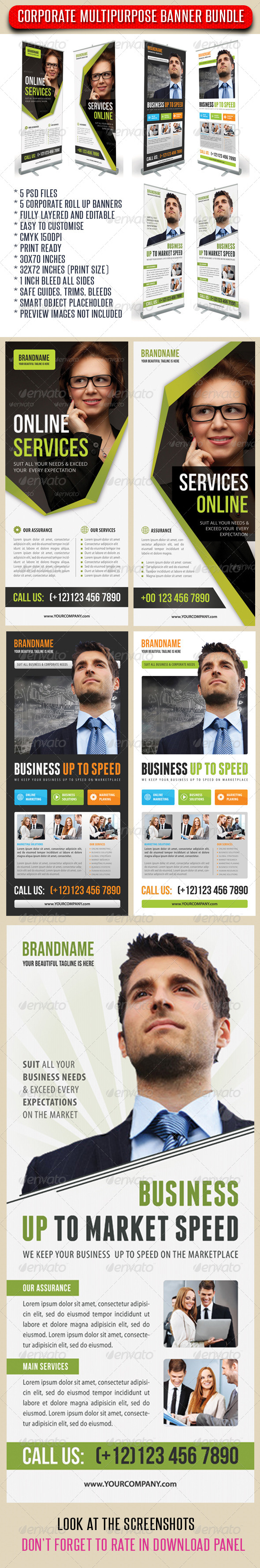 3 in 1 Corporate Rollup Banner Bundle 04 - Signage Print Templates
