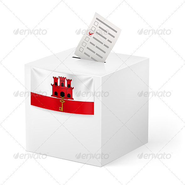 Ballot Box with Voting Paper Gibraltar - Miscellaneous Vectors