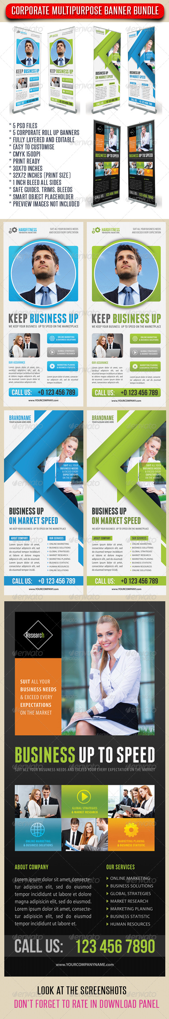3 in 1 Corporate Rollup Banner Bundle 05 - Signage Print Templates