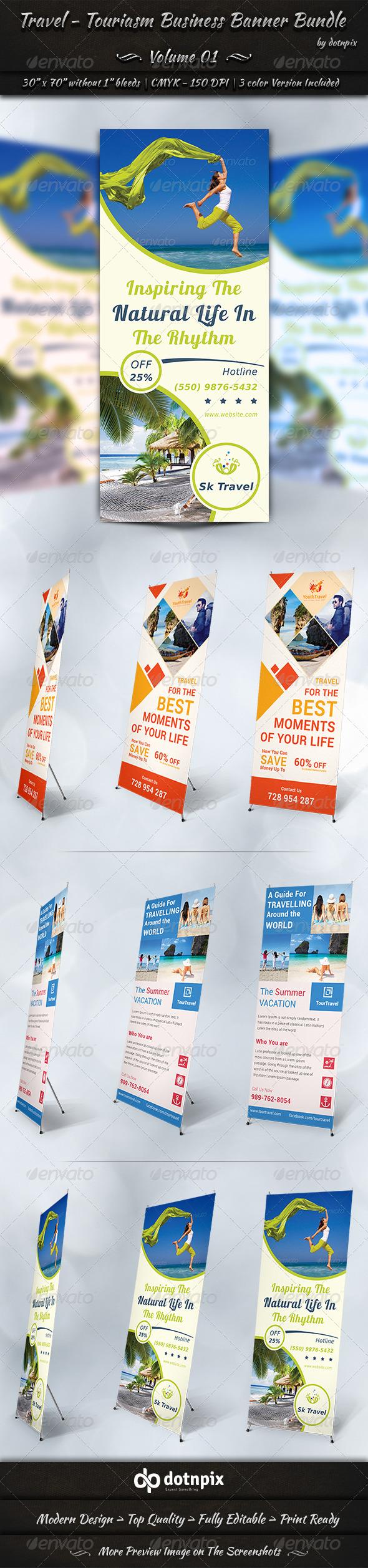 Travel / Tourism Business Banner Bundle | Volume 1 - Signage Print Templates