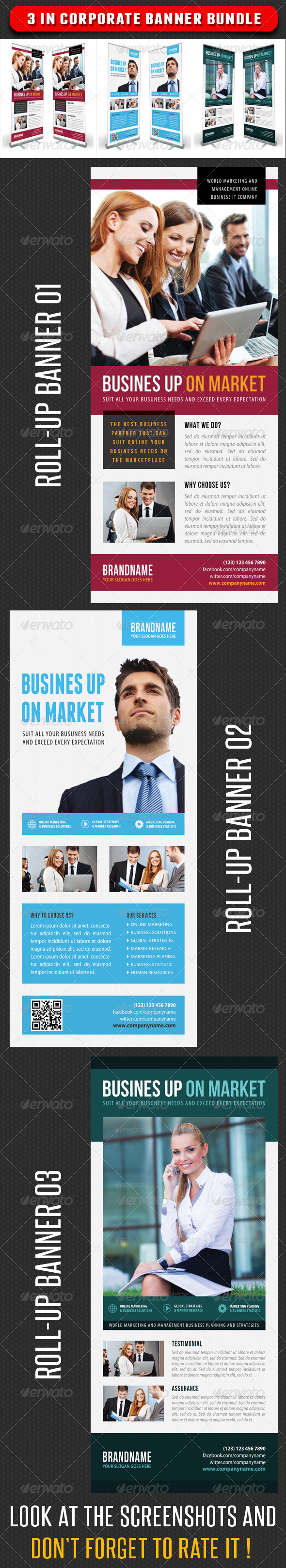 3 in 1 Corporate Rollup Banner Bundle 07 - Signage Print Templates