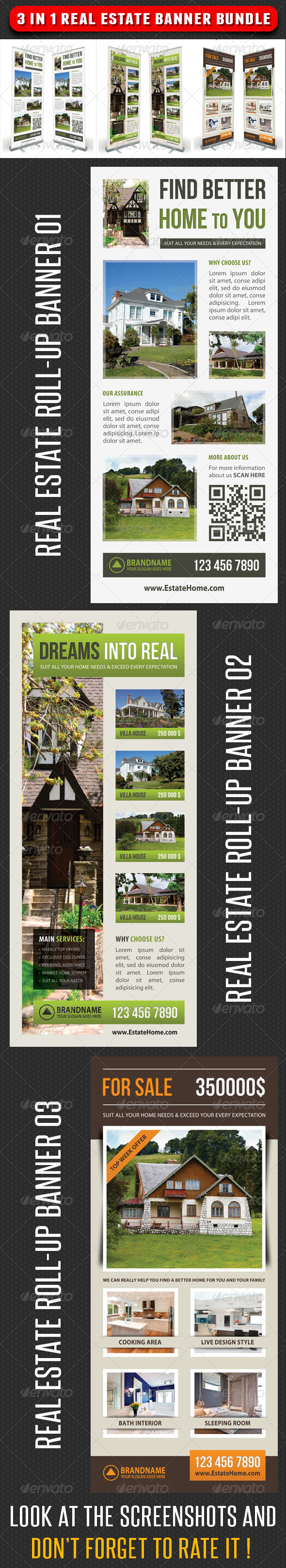 3 in 1 Real Estate Banner Bundle 04 - Signage Print Templates