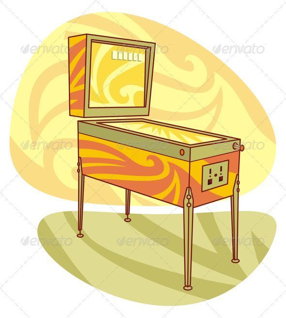 Retro games pinball machine - Objects Vectors