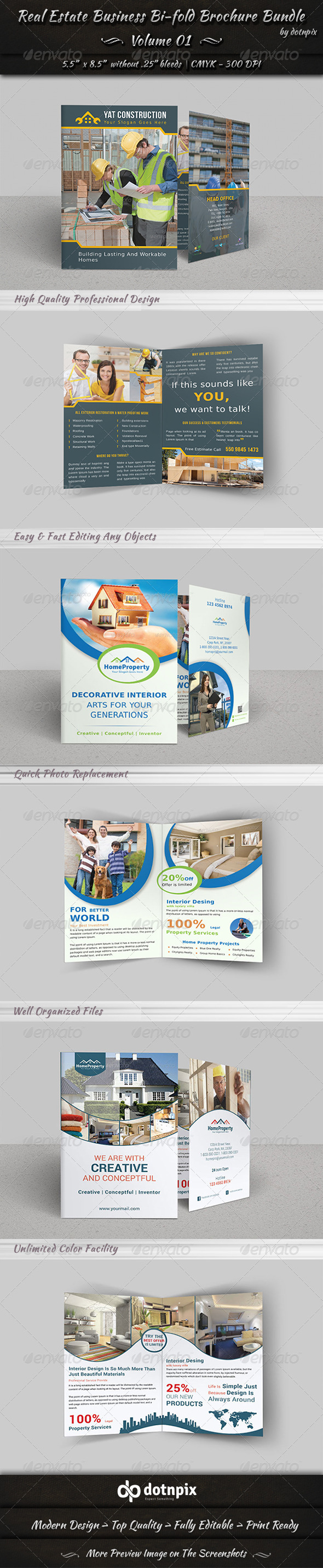 Real Estate Bi-fold Brochure Bundle | Volume 1 - Corporate Brochures