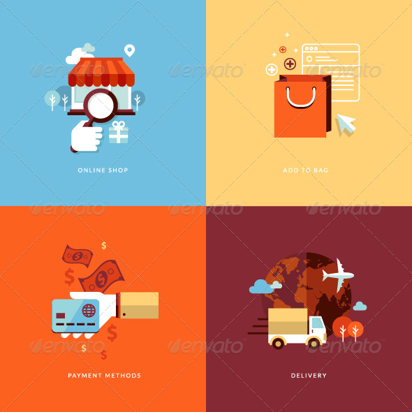 Flat Design Concept Icons for Online Shopping  - Conceptual Vectors