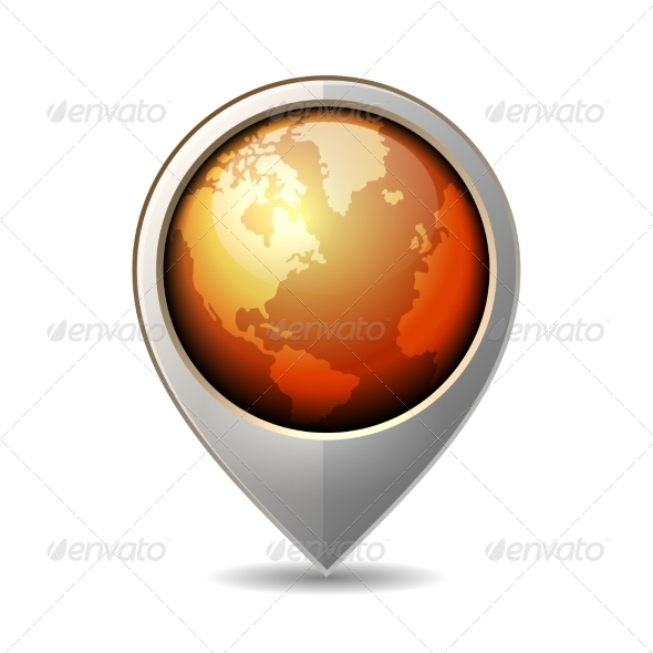 Map Pointer with Earth Globe Icon. Vector  - Travel Conceptual