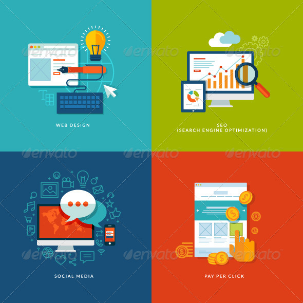 Set of Flat Design Concept Icons  - Conceptual Vectors