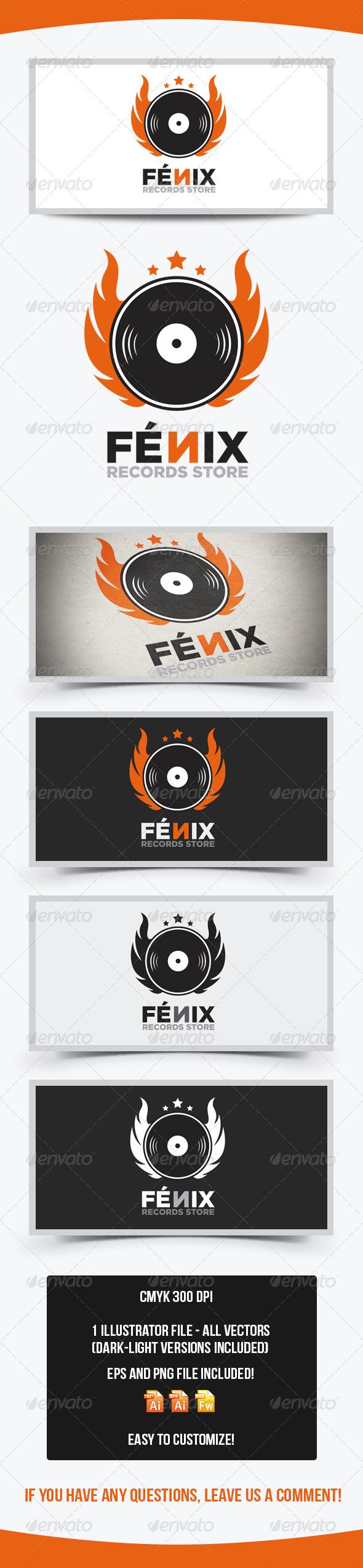 Fenix Records Store Logo Template