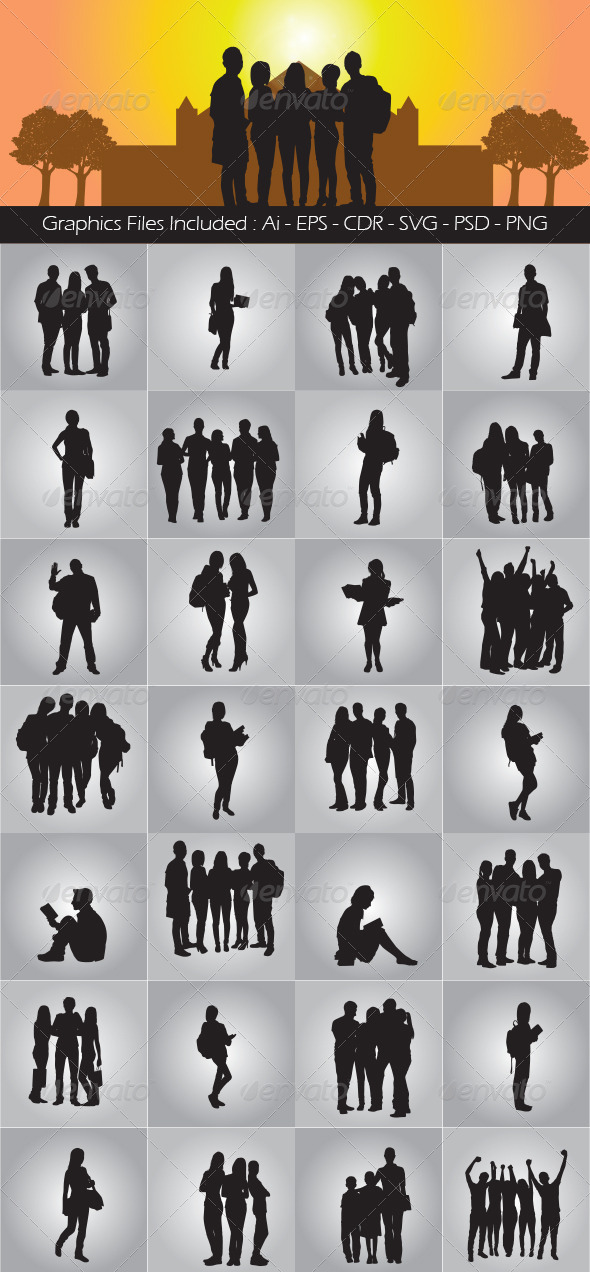 Student Silhouettes - People Characters