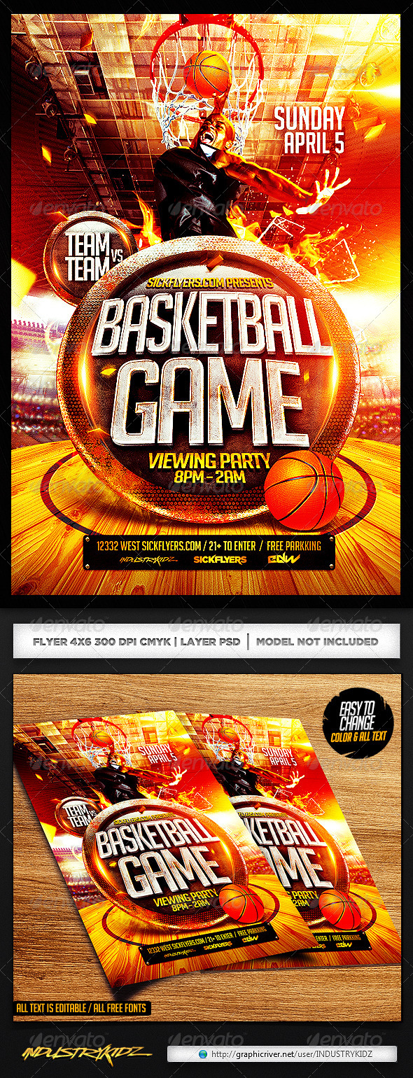 basketball playoffs flyer psd by industrykidz graphicriver. Black Bedroom Furniture Sets. Home Design Ideas