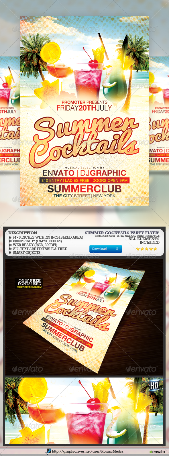 Summer Cocktails Flyer - Clubs & Parties Events