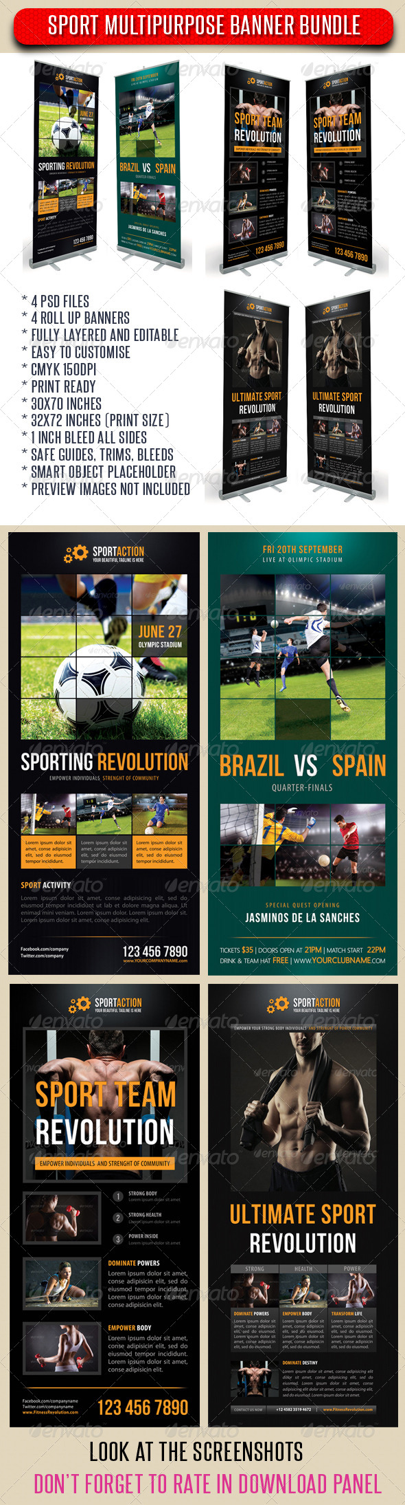 4 in 1 Sport Rollup Banner Bundle 02 - Signage Print Templates