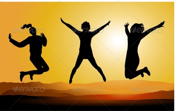 Silhouette of Happy Jumping People - People Characters