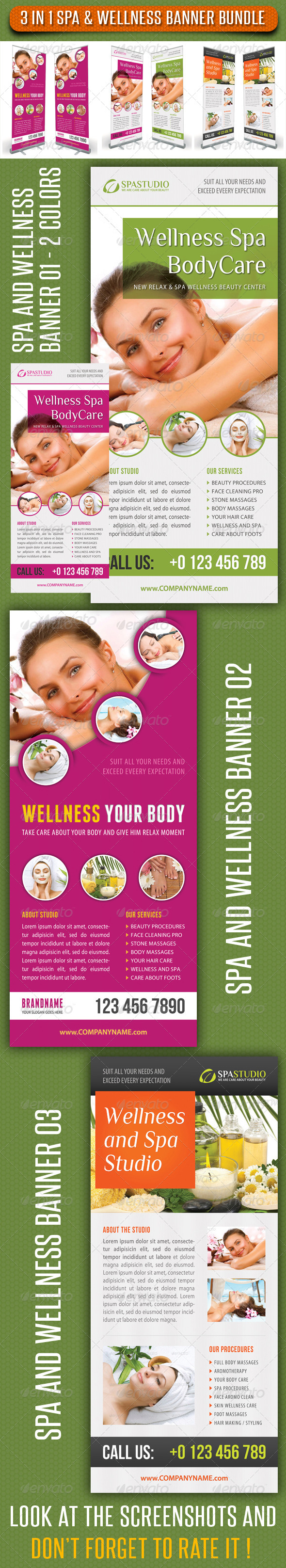 3 in 1 Spa Wellness Banner Bundle 04 - Signage Print Templates