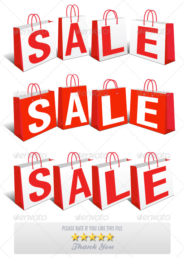3 Sale Banner Shopping Bags - Retail Commercial / Shopping