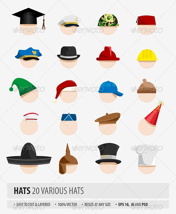 Various Hats - Objects Vectors