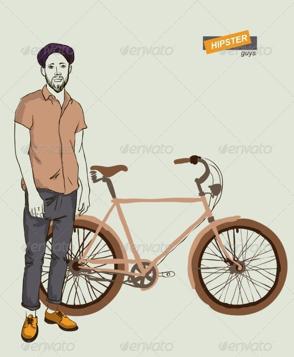 Young Man with Bike - People Characters