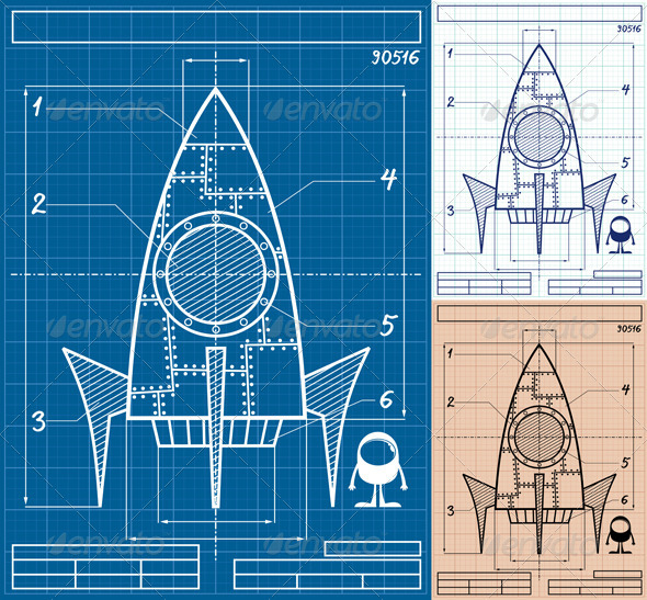 Rocket Blueprint Cartoon - Technology Conceptual