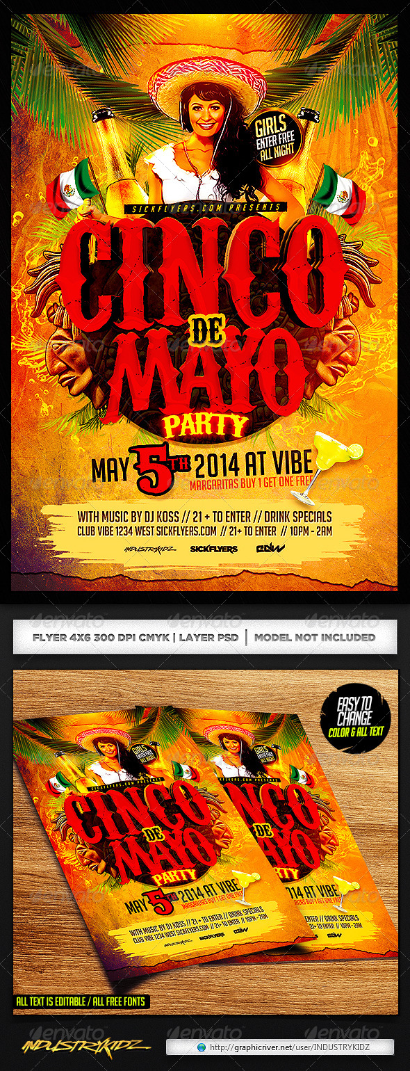Cinco de Mayo Flyer Template PSD - Holidays Events