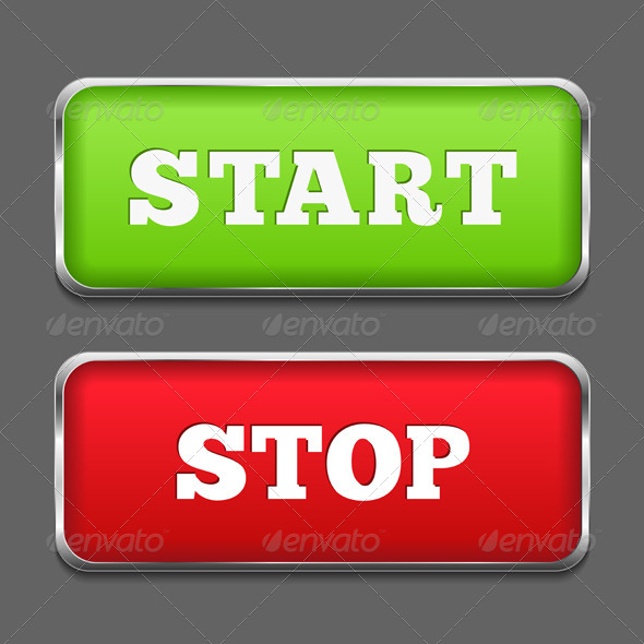 Start and Stop Buttons - Web Elements Vectors