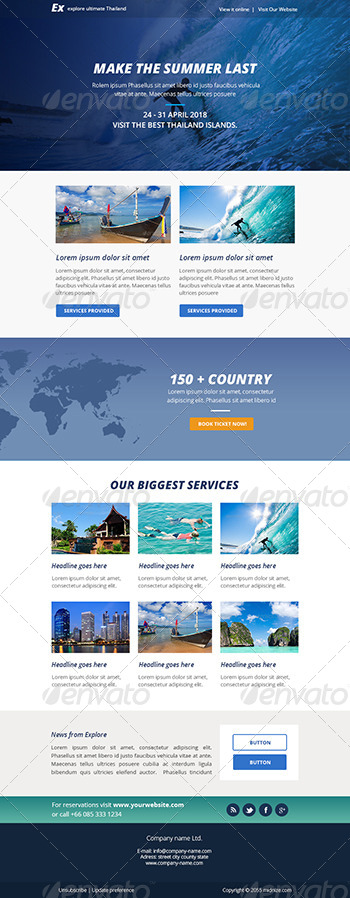 Explore Travel PSD Email Newsletter Template By Smythemes - How to make email newsletter templates