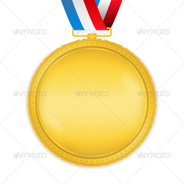 Golden Medal with Ribbon - Objects Vectors