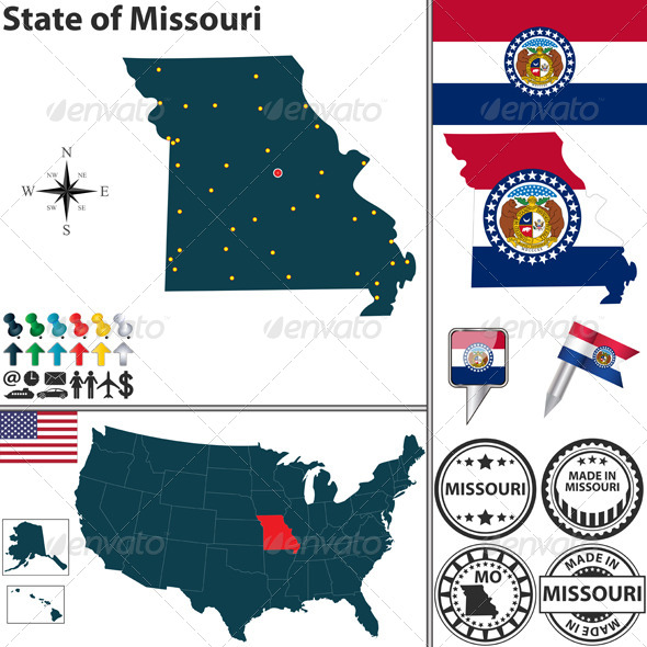 Map of state Missouri, USA - Travel Conceptual