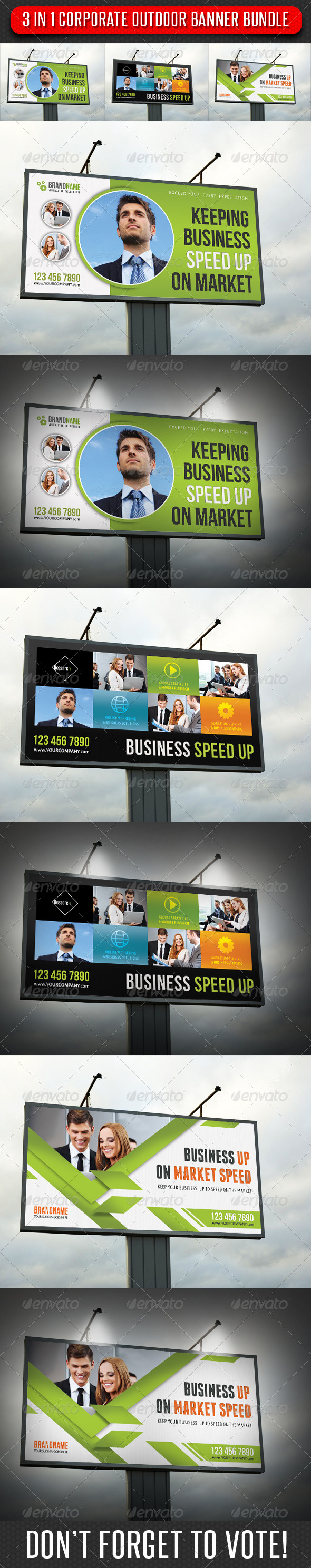 3 in 1 Corporate Outdoor Banner Bundle 08 - Signage Print Templates