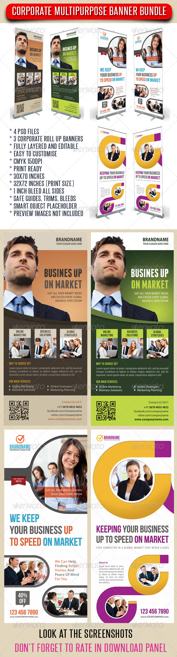 3 in 1 Corporate Rollup Banner Bundle 10 - Signage Print Templates