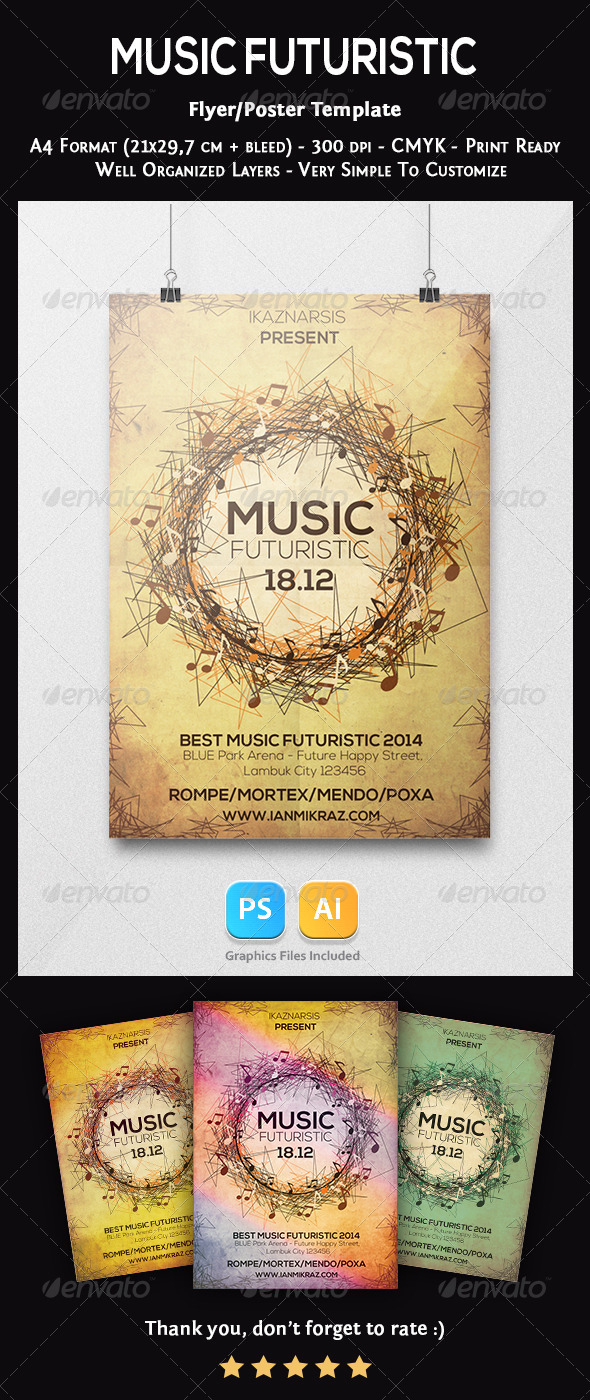 Music Futuristic Flyer Template - Concerts Events