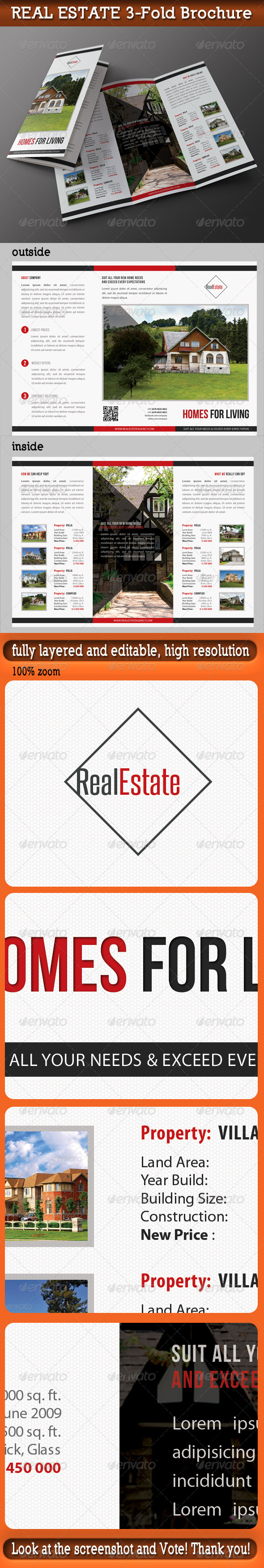 Real Estate 3-Fold Brochure 01 - Brochures Print Templates