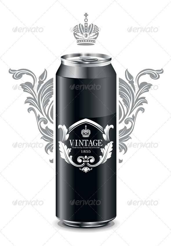 Can with vintage picture - Vectors
