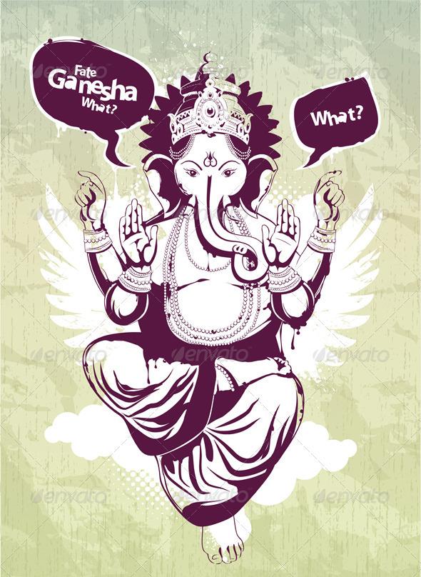 Graffiti image with indian idol Ganesha - Vectors