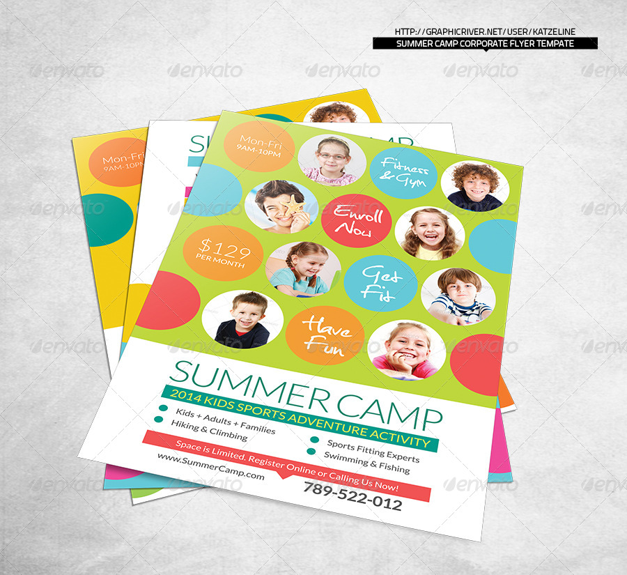 Fresh Summer Camp Fitness Club Flyer Template by katzeline – Camp Flyer Template