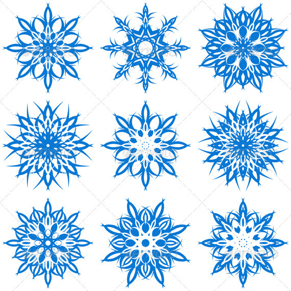 Vector Illustration of the Snowflakes - Christmas Seasons/Holidays