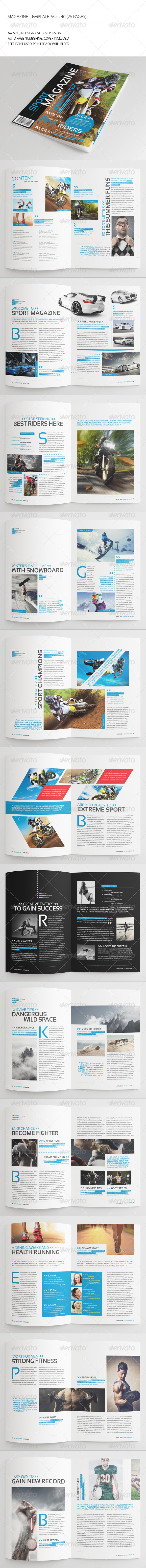 25 Pages Sport Magazine Vol40 - Magazines Print Templates