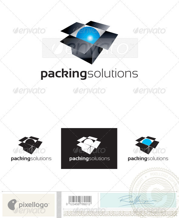Box & Ball Logo - 2400 - Objects Logo Templates